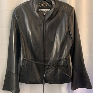 Wilsons Leather Jacket with Leopard Lining